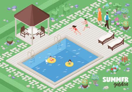 Landscape design poster with summer garden symbols isometric vector illustration