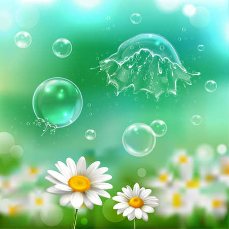 Soap bubbles floating bursting popping exploding above chamomile flowers realistic image with green blurry background vector illustration Vector Illustration