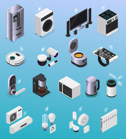 IOT smart home remote controlled electronic devices isometric icons collection with refrigerator tv stove coffeemaker vector illustration