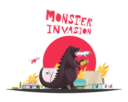 Monster invasion attack scene with funny dragon setting shops ablaze helicopter and running people flat vector illustration