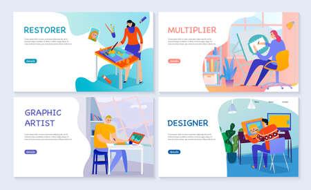 Set of flat banners creative professions graphic artist restorer multiplier and designer isolated vector illustration Ilustración de vector