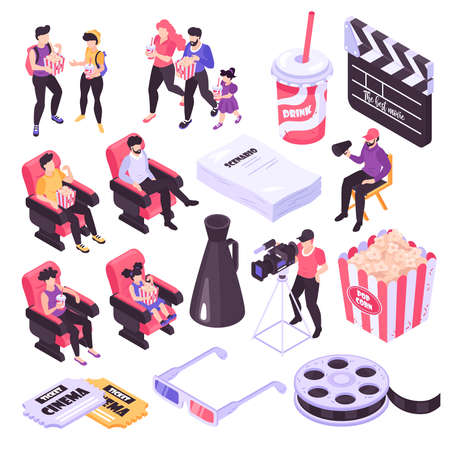 Cinema and movie shooting isometric icons set isolated on white background 3d vector illustration