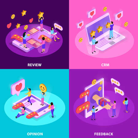 CRM system with review opinion of customer and feed back isometric design concept isolated vector illustration