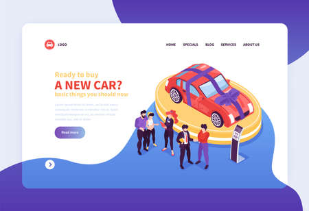 Isometric car showroom web site landing page concept background with images clickable links and editable text vector illustration