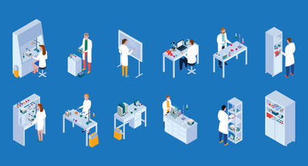 Scientific laboratory isometric icons set with staff during work equipment and furniture blue background isolated vector illustration Vektorové ilustrace