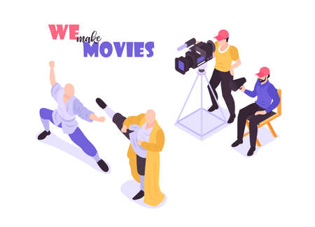 Isometric movie cinema composition with human characters of shooting crew members and actors on blank background vector illustration