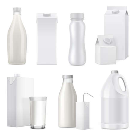 Isolated white realistic milk bottle package icon set from glass plastic and paper vector illustration Vecteurs