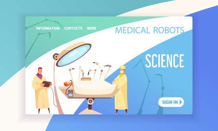 Medical robots landing page with surgeons in operating room equipped with modern devices vector illustration
