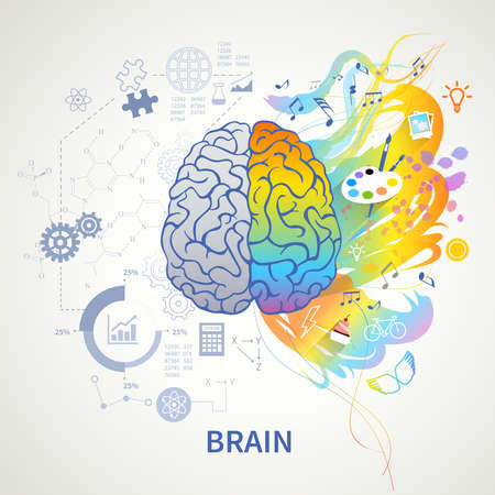 Brain functions concept infographic symbolic depiction with left side logic science mathematics right arts creativity vector illustration Ilustracje wektorowe