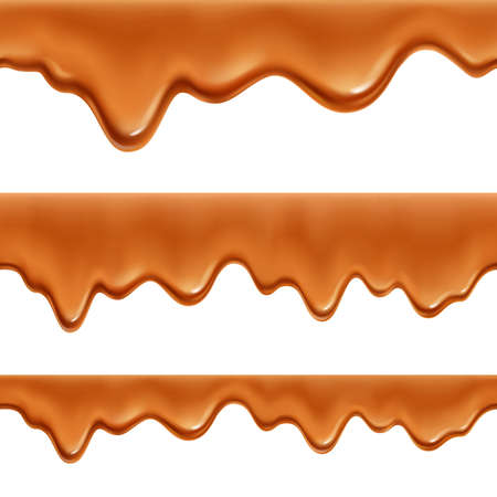 Melted caramel toffee sweet coating saus 3 realistic appetizing decorative border seamless patterns set isolated vector illustration