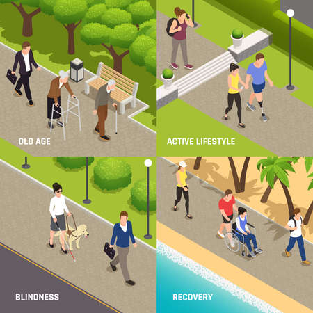 Disabled injured people outdoor activities rehabilitation 4 isometric icons concept with blind old and amputee vector illustration