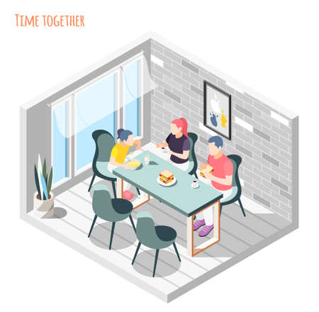 Time together isometric composition with family sitting and having dinner together in kitchen vector illustration