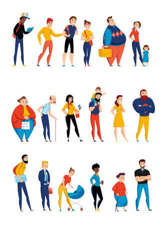 People waiting in queue lining up 3 flat horizontal sets with young parents and elderly vector illustration