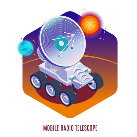 Astrophysics aerospace technology isometric background composition with mobile radio telescope mounted on all terrain rover vector illustration