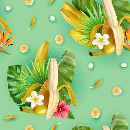 Realistic banana pattern with compositions of banana fruit tropical leavrs flowers and slices with turquoise background vector illustration