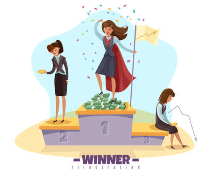 Business winner loser background with businesswomen female doodle style characters on winners poduim with editable text vector illustration