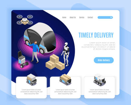 Robot delivery service order options isometric web page design with drone landing humanoid loading goods vector illustration