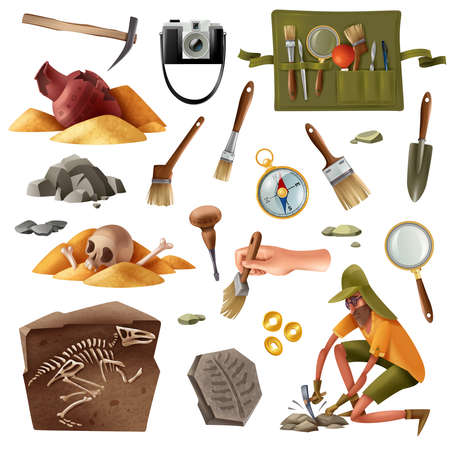 Archeology set of isolated elements images of digging equipment excavation artefacts with doodle style human character vector illustration