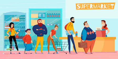 People standing in long supermarket queue lining up waiting checkout customer service horizontal flat composition vector illustration