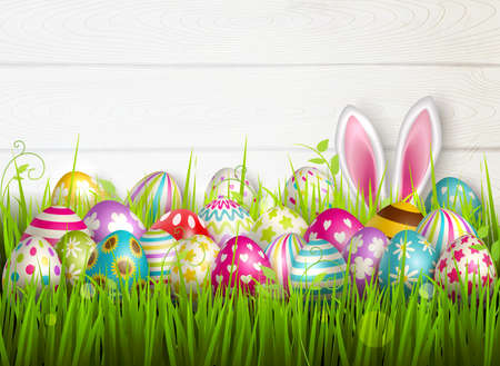 Easter composition with colourful images of festive easter eggs on green grass surface with bunny ears vector illustration Ilustración de vector