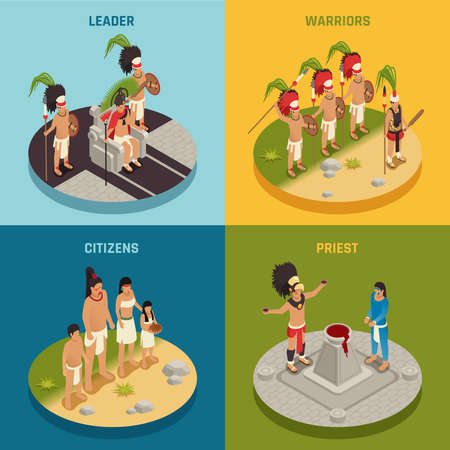 People of maya civilization tribal leader warriors priest and citizens isometric design concept isolated vector illustration