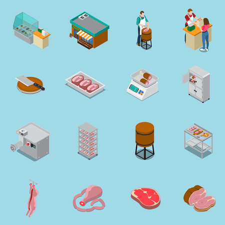Butchery sausage shop isometric icons collection of sixteen isolated icons with human characters and production facilities vector illustration