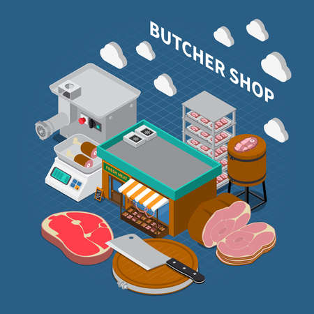 Butchery sausage shop isometric composition with composition of grocery store outdoor images with text and icons vector illustration