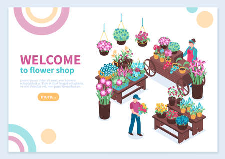 Isometric florist concept banner composition with editable text description read more button and flower selling stalls vector illustration