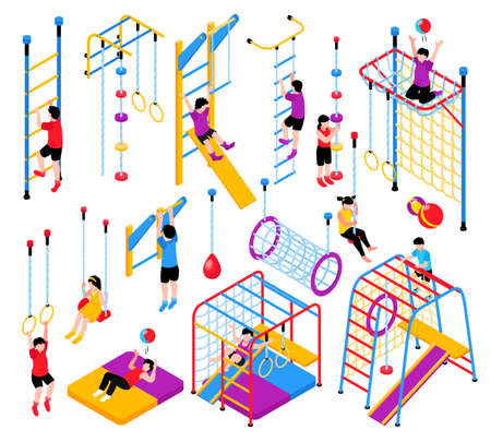 Isometric children home sport complex equipment set with isolated gymnastic apparatus elements and kids climbing frames vector illustration