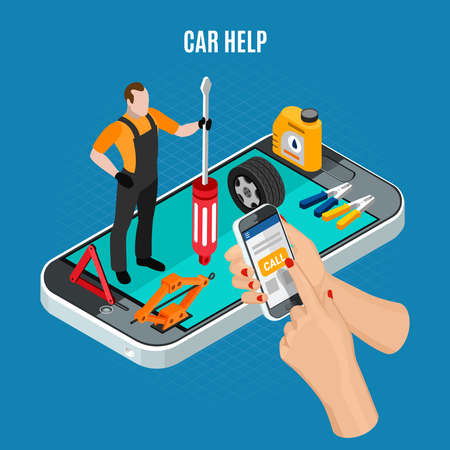 Car help isometric concept with equipment and tools symbols vector illustration