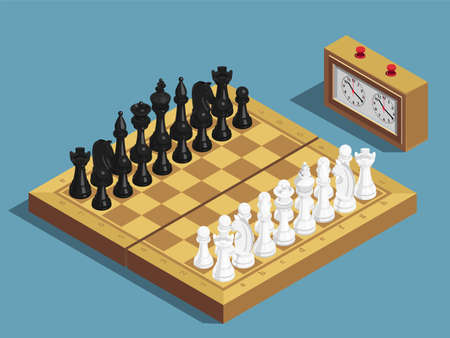 Chess game beginning isometric composition with clock 16 each white and black pieces on chessboard vector illustration Vektoros illusztráció