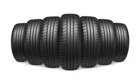Car tires with similar tread assembled in row realistic design concept vector illustration Vektoros illusztráció