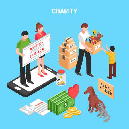 Charity isometric composition with people actions for support animals shelter and children donation vector illustration Vector Illustratie