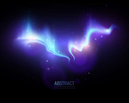 Bright northern lights on night starry sky abstract background realistic vector illustration