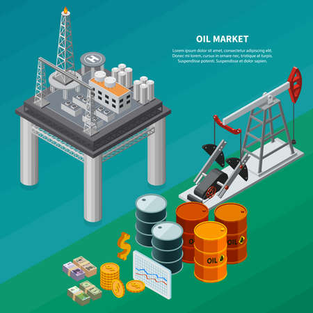 Oil industry isometric composition with refinery sea platform pumpjack canisters money 3d isometric vector illustration Vetores