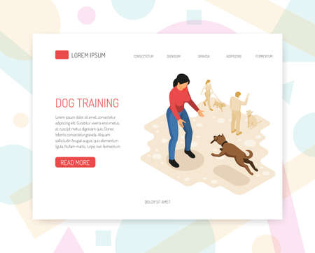 Cynologyst dog training behavior analysis specific tasks undertaking interaction with environment web page isometric design vector illustration