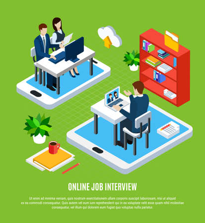 Business people isometric background with editable text and conceptual images of gadgets job applicant and recruiters vector illustration