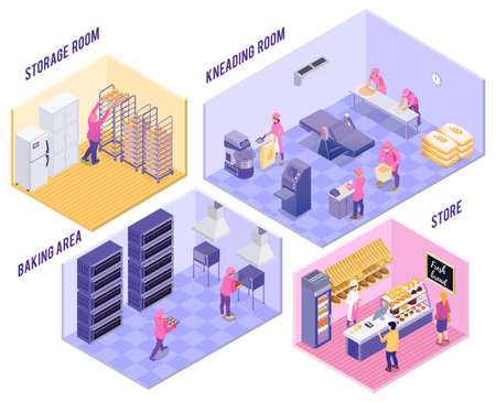 Bakery with kneading room baking area storage and shop with finished products isometric vector illustration