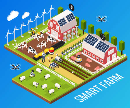 Smart farm concept with technology and cattle symbols isometric vector illustration
