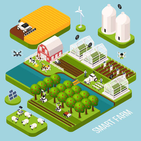 Smart farm isometric set with agriculture symbols isometric isolated vector illustration