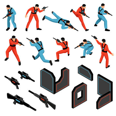 Laser tag game ammunition gear infrared sensitive targets vests guns players isometric icons set isolated vector illustration