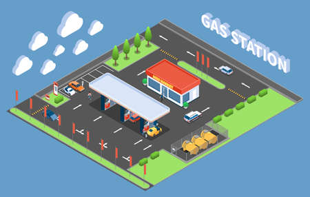 Clients at gas station with store isometric composition on blue background vector illustration Vektorové ilustrace