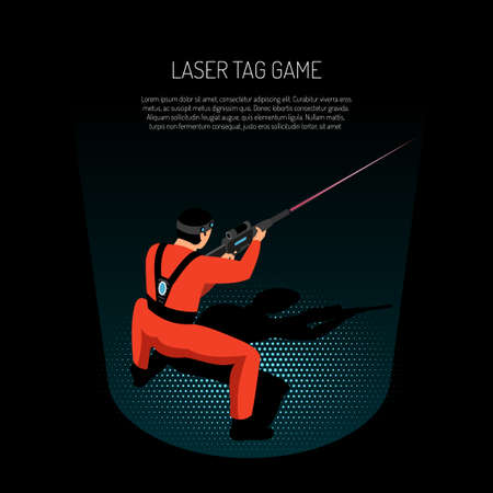 Laser tag game isometric advertising poster with player firing target with infrared beam black background vector illustration