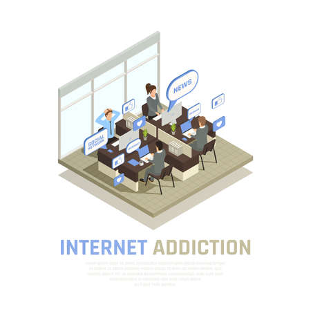 Internet smartphone gadget addiction isometric composition with view of cubicle office room with people and thought bubbles vector illustration Vector Illustratie