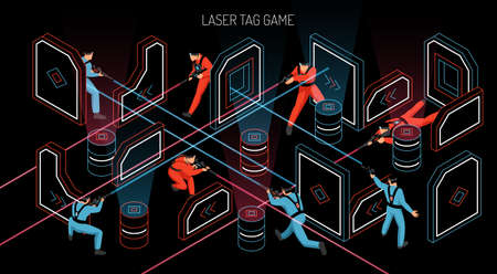 Laser tag indoor outdoor team game horizontal isometric composition with players firing infrared sensitive targets vector illustration