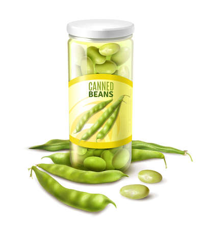 Canned green beans in glass jar realistic close up composition with fresh pods white background vector illustration
