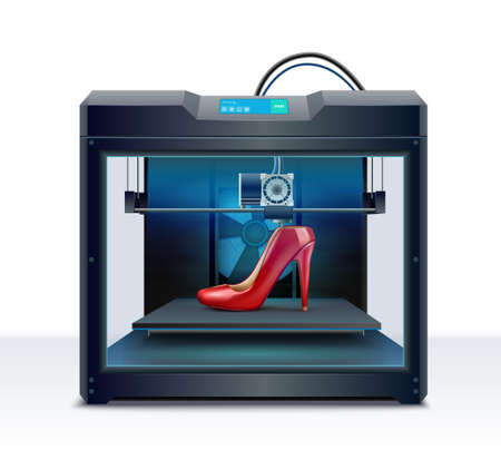 3d printing of red high heeled shoe process isometric composition vector illustration Ilustracje wektorowe