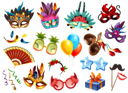 Carnival masquerade festival celebration attributes accessories realistic colorful set with presents masks glasses feathers balloons vector illustration