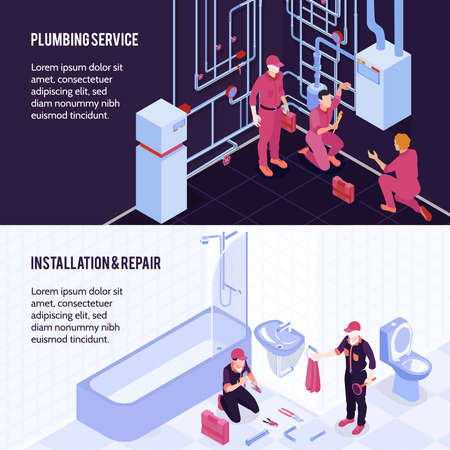 Plumbing service boiler maintenance repair bathroom shower toilet sanitary installation 2 horizontal isometric advertising banners vector illustration