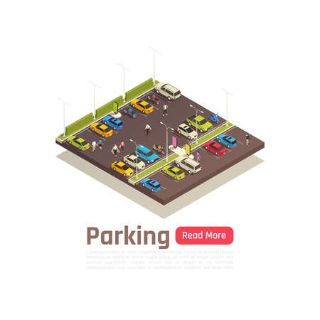 Isometric and isolated city composition with parking description and read more button vector illustration